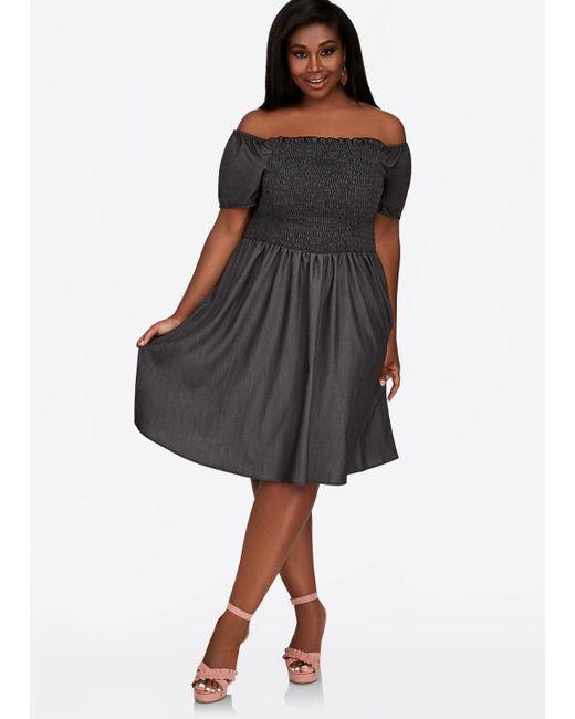 Lyst Ashley Stewart Plus Size Smocked Bodice Empire Waist Dress In