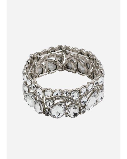 Ashley Stewart Metallic Plus Size Silver Jeweled Stretch Cuff
