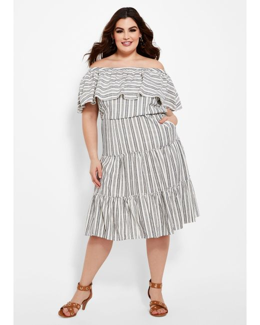 Women\'s Blue Plus Size Stripe Ruffle Tiered Linen Dress