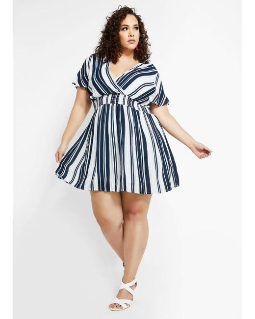 Plus Size Crinkled Mock Wrap Dress