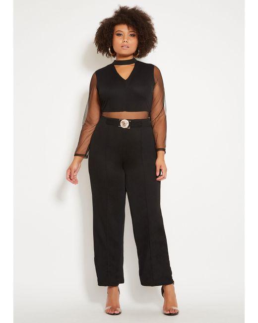 409c606b6452 Lyst - Ashley Stewart Plus Size Mesh Gold Belt Jumpsuit in Black