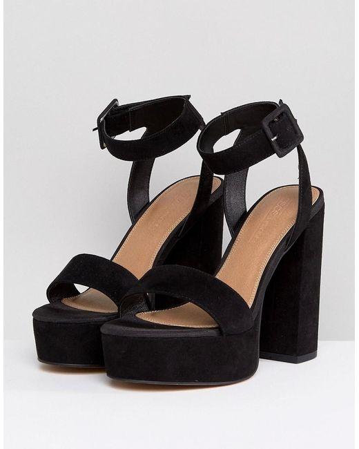 0b5241ae133 Women's Black Hostess Platform Block Heeled Sandals