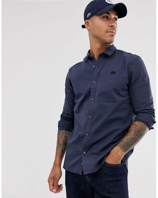 Camisa lisa Lacoste de hombre de color Blue
