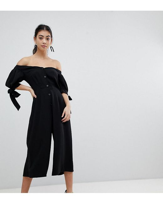 ASOS - Black Tea Jumpsuit With Off Shoulder Detail And Tie Sleeve - Lyst