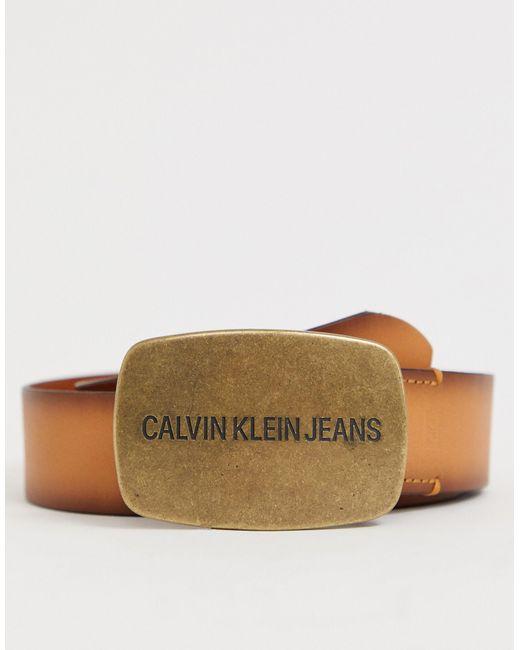 Коричневый Кожаный Ремень С Пряжкой Calvin Klein для него, цвет: Multicolor