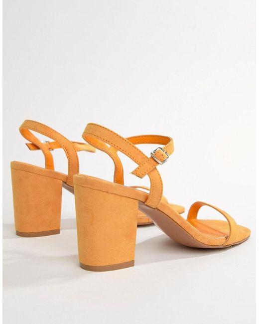 8092fe7b190 Glamorous Peach Block Heel Sandals in Orange - Lyst