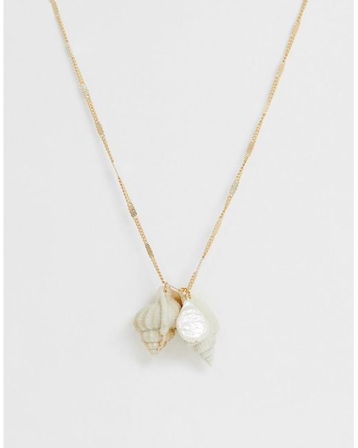 ASOS Metallic Necklace With Faux Shell And Freshwater Pearl Cluster In Gold Tone