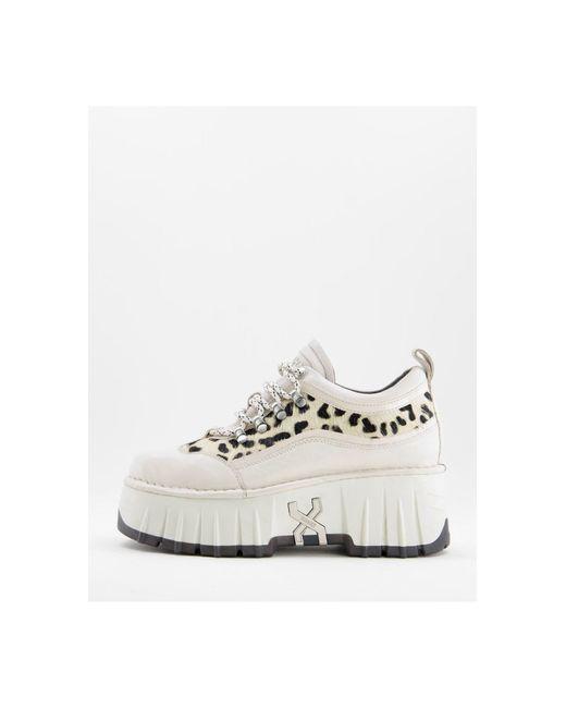 Zapatillas deportivas blancas con estampado y plataforma plana gruesa moon walk Bronx de color Multicolor
