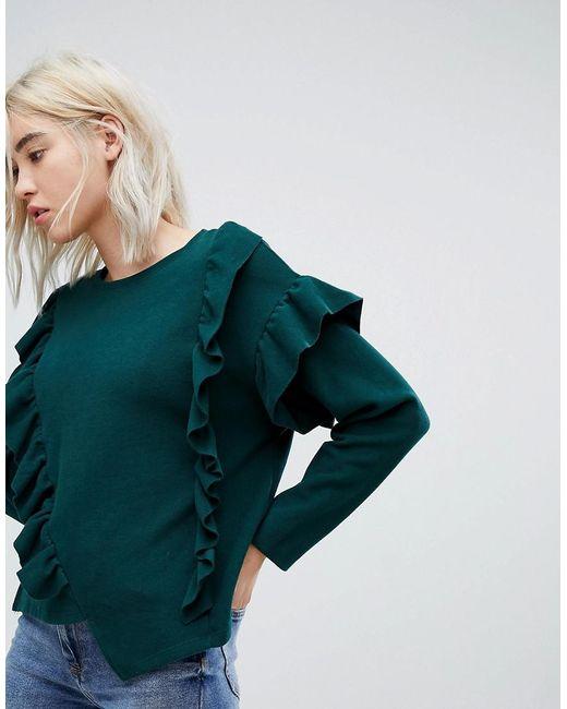 Bershka - Green Frill Front Sweater - Lyst