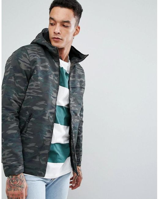 Pull&Bear - Green Hooded Jacket In Camo for Men - Lyst