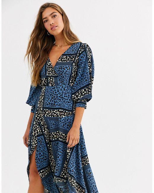 Платье Миди С Запахом И Анималистичным Принтом -мульти Liquorish, цвет: Blue