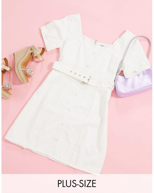 Белое Джинсовое Платье Мини С Поясом И Объемными Рукавами -белый Missguided, цвет: White