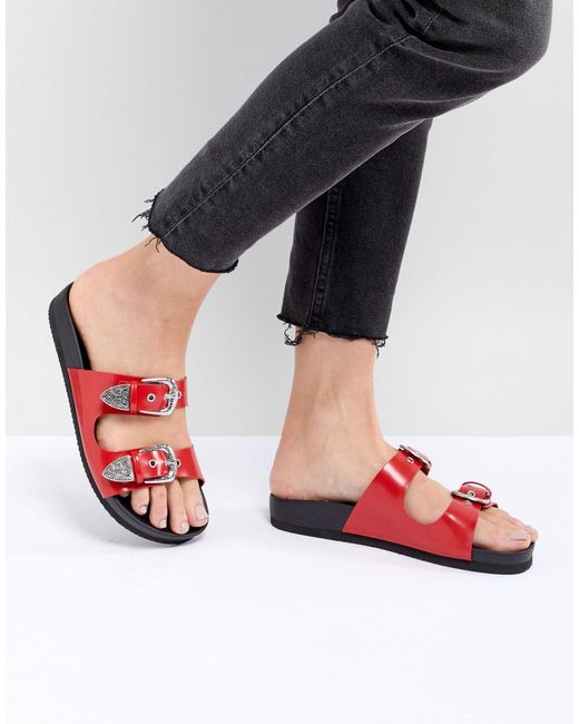 Monki Western Strap Slider Sandal-red