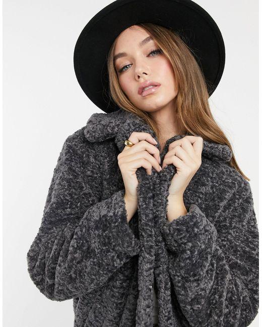 Темно-серое Удлиненное Плюшевое Пальто Из Искусственного Меха -серый New Look, цвет: Gray