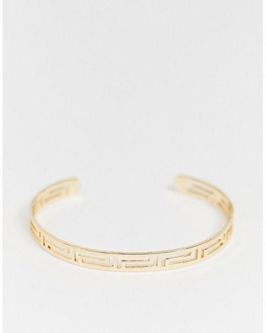 ASOS Metallic Cuff Bracelet In Cut Out Design In Gold Tone