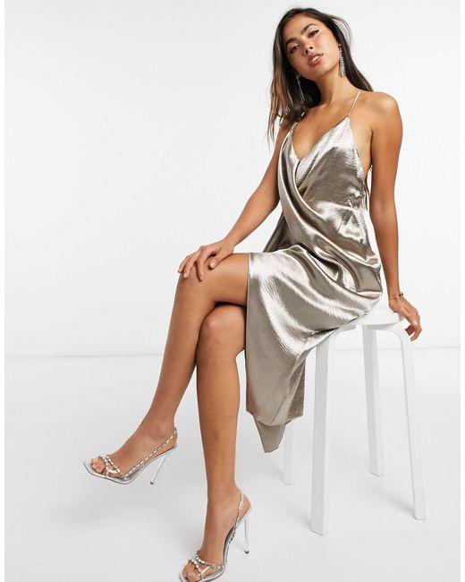 Платье-комбинация С Драпировкой ASOS, цвет: Brown