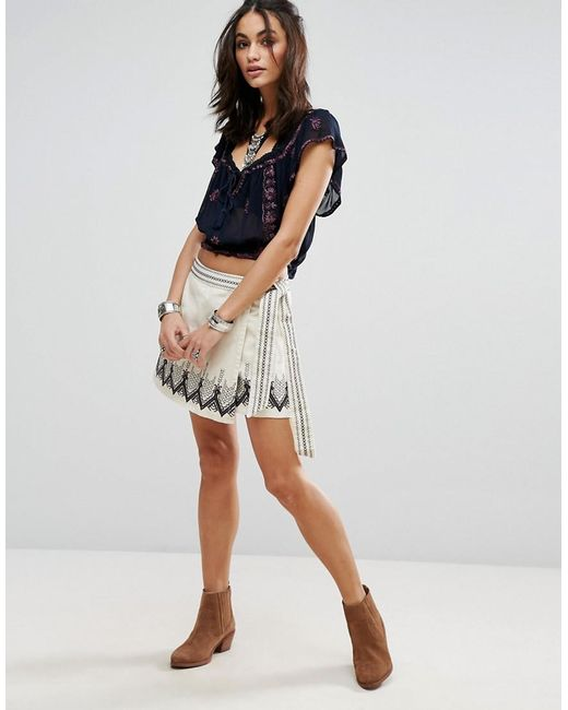 Free People   Multicolor Dream Away Embroidered Wrap Skirt   Lyst
