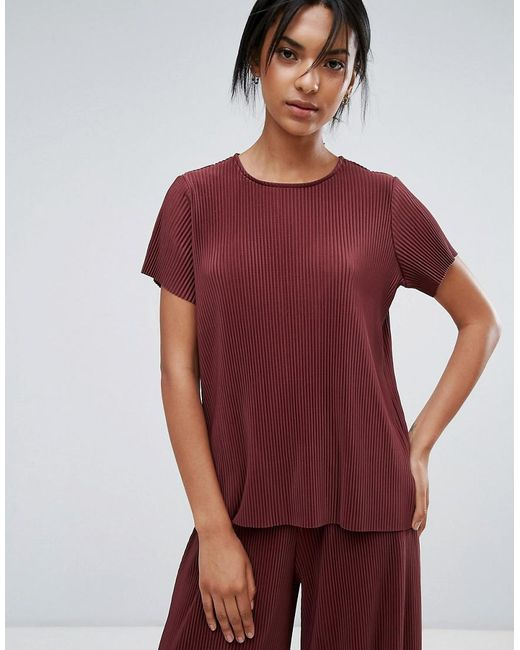 Just Female - Red Quint Plisse T-shirt - Lyst