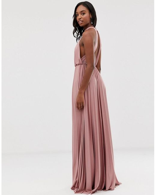 8cf65d17a1d Lyst - ASOS Asos Design Tall Halter Pleated Waisted Maxi Dress in Pink