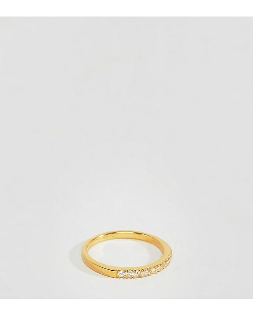 ASOS - Metallic Gold Plated Sterling Silver Ring With Clear Crystal - Lyst