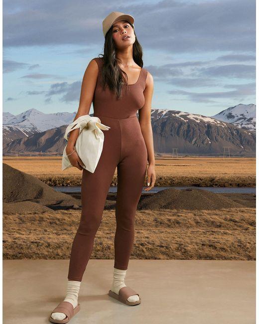 Облегающий Комбинезон В Рубчик -коричневый ASOS 4505, цвет: Brown