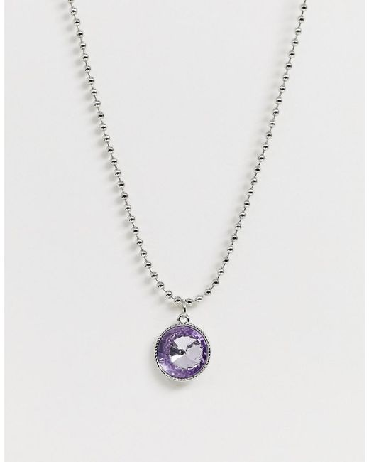 ASOS Metallic Necklace With Crystal Gem Pendant And Ball Chain In Silver Tone