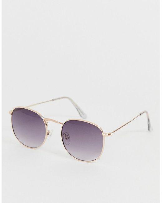A.J. Morgan Metallic Retro Round Sunglasses In Gold