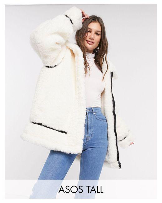 Кремовая Oversized-куртка Из Искусственного Меха С Лакированной Отделкой ASOS, цвет: White