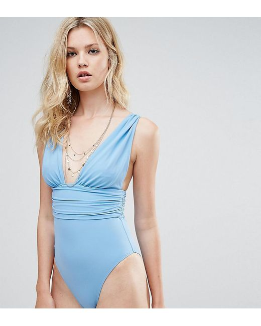 ASOS | Gray Tall Gathered Waist Band Swimsuit | Lyst
