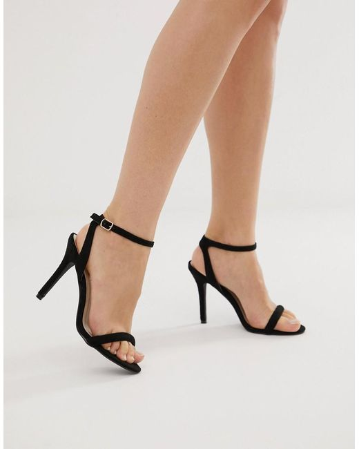 Glamorous - Black Barely There Heels - Lyst