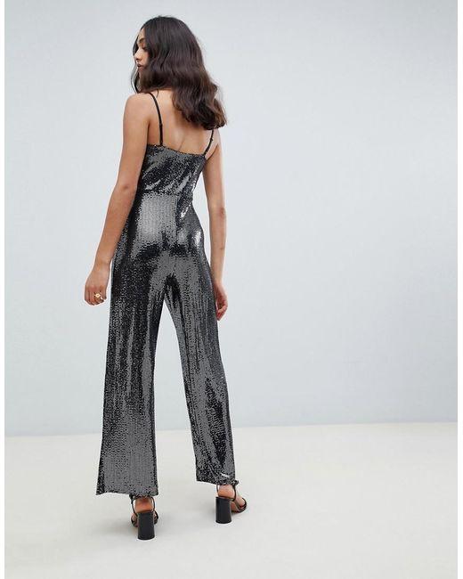 9eed019dc97312 Combinaison ornée de sequins - Gris acier femme de coloris métallisé