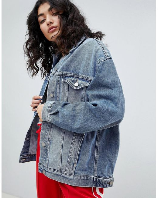 ASOS - Denim Girlfriend Jacket In Lightwash Blue - Lyst