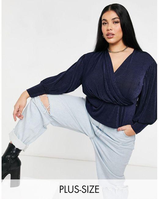 Closet London Plus Blue Wrap Blouse Top With Volume Sleeve