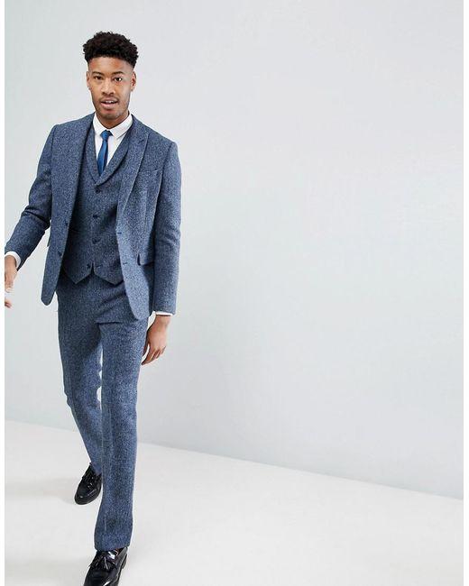 TALL Slim Suit Trousers in 100% Wool Harris Tweed In Blue Mini Check - Blue Asos wvyej