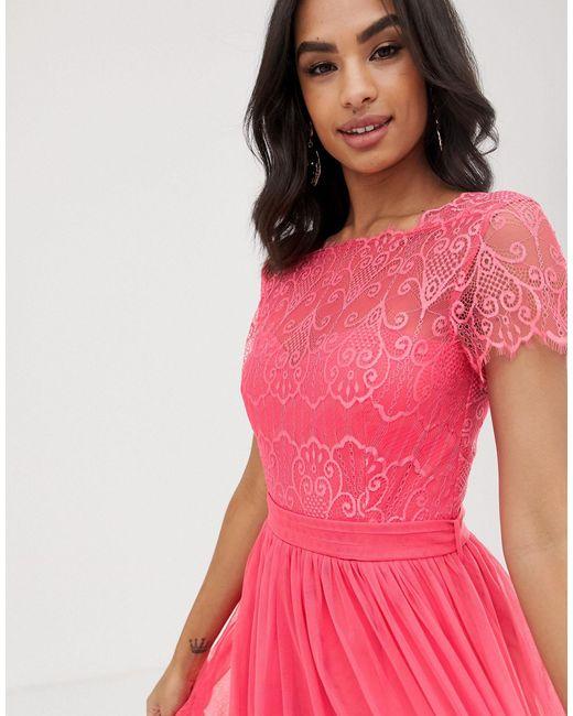 Платье Макси С Кружевным Топом -оранжевый Little Mistress, цвет: Pink