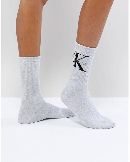 Calvin Klein Korte Sokken Met Logo in het Gray