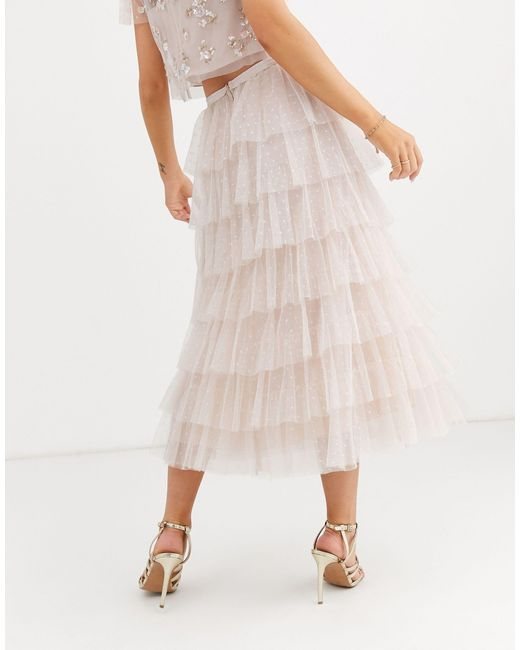 Розовая Ярусная Юбка С Оборками -розовый Needle & Thread, цвет: Multicolor