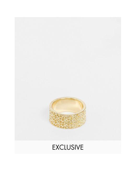 Золотистое Фактурное Кольцо Inspired-золотой Reclaimed (vintage) для него, цвет: Metallic