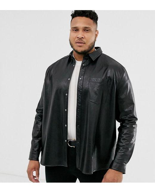ASOS Plus - Regular-fit Overhemd In Leerlook In Zwart in het Black voor heren