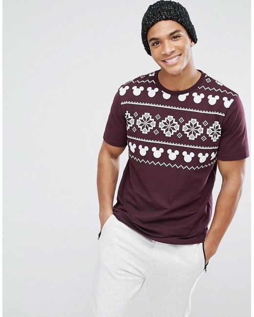 Asos Mickey Christmas Relaxed T-shirt With Fair Isle Print in Red ...
