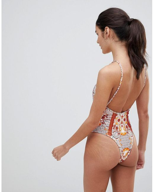 fbfd7a18506 Women's Pink Sun Drenched Asymmetric One-piece Swimsuit