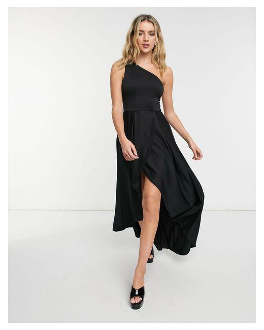 Черное Платье Миди Для Выпускного На Одно Плечо -черный Цвет True Violet, цвет: Black