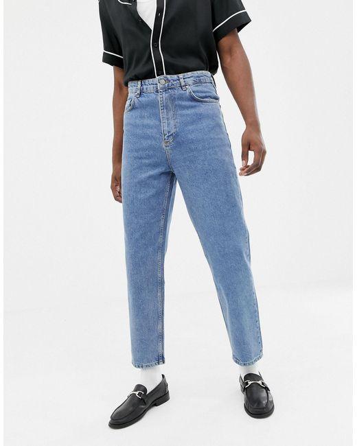 Jeans vintage blu medio slavato a vita alta di ASOS in Blue da Uomo