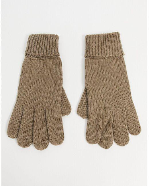 Вязаные Перчатки С Отворотами Бежевого Цвета ASOS, цвет: Brown