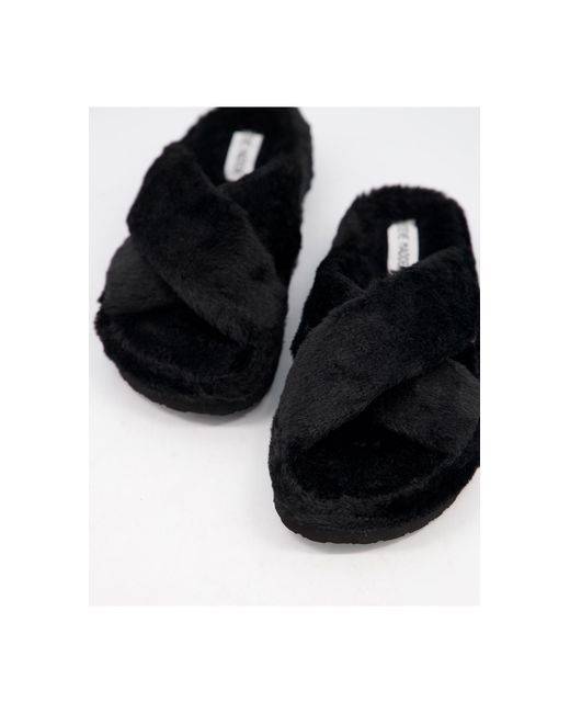 Черные Пушистые Слиперы С Перекрещивающимися Ремешками Fuzed-черный Цвет Steve Madden, цвет: Black