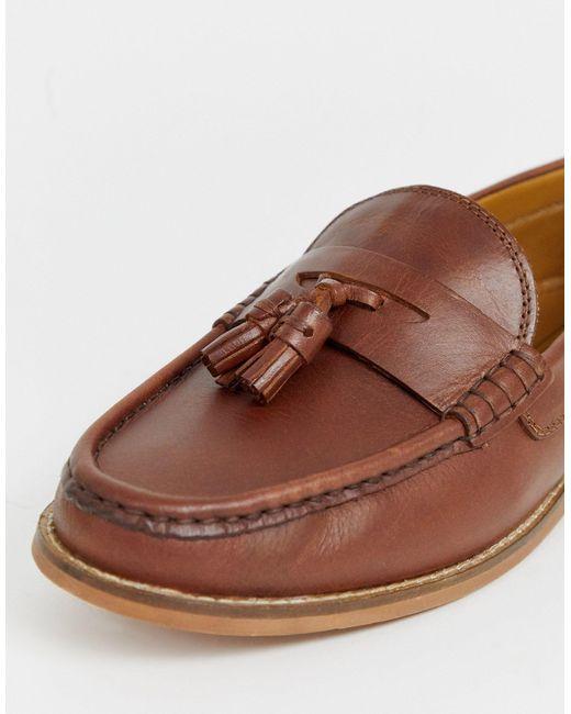 Светло-коричневые Кожаные Лоферы С Кисточками ASOS для него, цвет: Brown