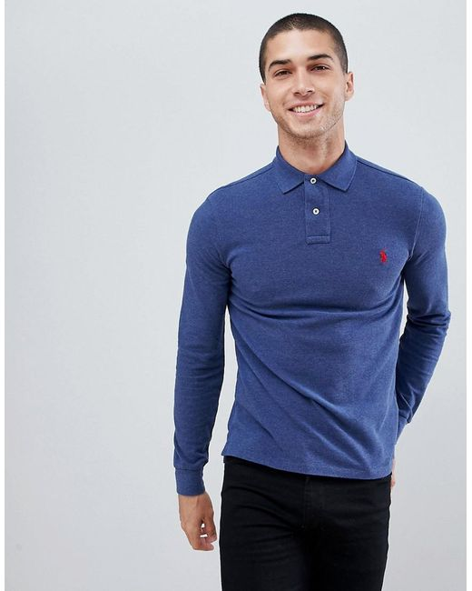 c71ecf438d38f Polo Ralph Lauren - Blue Slim Fit Long Sleeve Pique Polo Player Logo In  Navy Marl ...