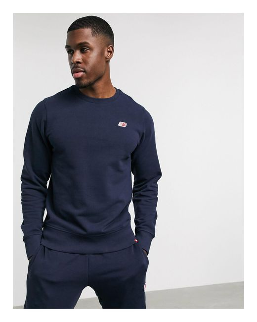 New Balance Blue Small Logo Sweatshirt for men