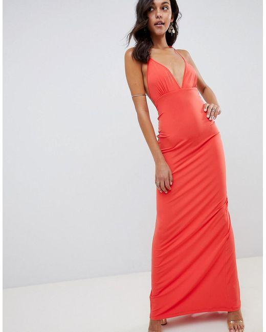 450c69c6e7f66 ASOS - Red Super Cut Out Slinky Maxi Dress - Lyst ...
