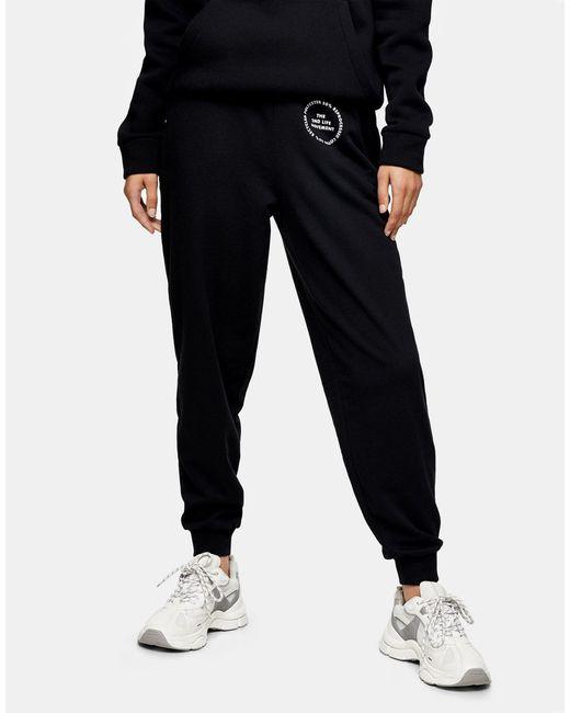 Черные Джоггеры С Графическим Принтом -коричневый Цвет TOPSHOP, цвет: Black